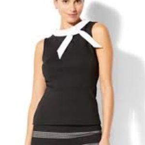 NY&Co. Black Bow Detail Sleeveless Peplum Top